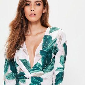 Sexy Palm Print Mini Dress